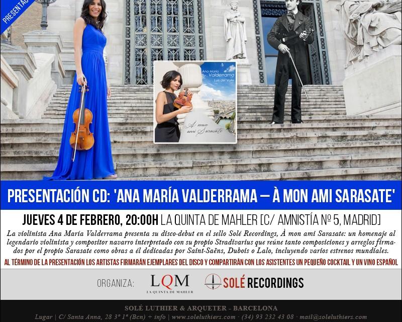 La violinista Ana María Valderrama presentará su disco: À mon ami Sarasate
