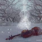 Protegiendo el violín del frío.