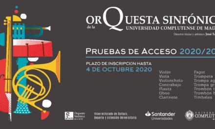Convocatoria de acceso a la Orquesta Sinfónica de la Universidad Complutense de Madrid 2020/21